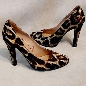Forever 21 Satin Leopard Print Heels